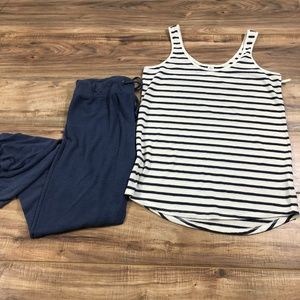 Lounging Outfit Striped Tank with Comfy Pants L